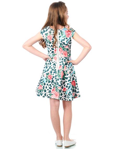 Hannah Banana Neoprene Floral & Leopard Print Dress, Size 7-14