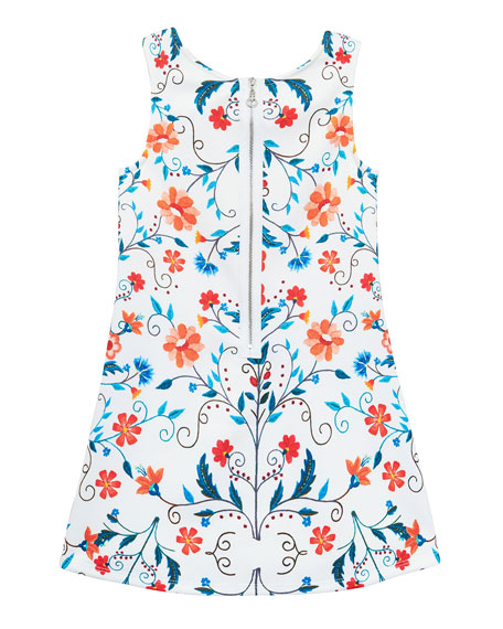 Hannah Banana Floral & Aztec Print Sleeveless Dress, Size 4-6X