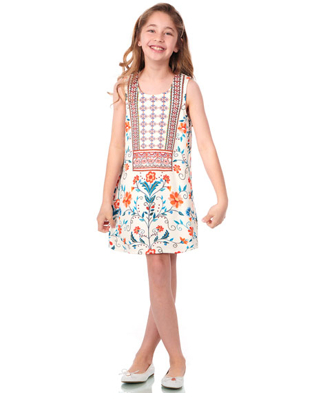 Hannah Banana Floral & Aztec Print Sleeveless Dress, Size 7-14