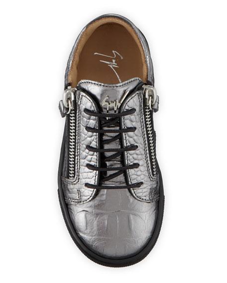 Giuseppe Zanotti London Metallic Embossed Leather Low-Top Sneakers, Baby/Toddler