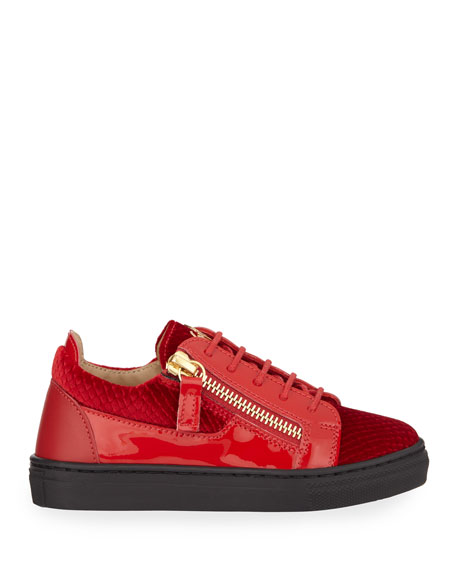 Giuseppe Zanotti London Patent Leather & Velvet Low-Top Sneakers, Baby/Toddler