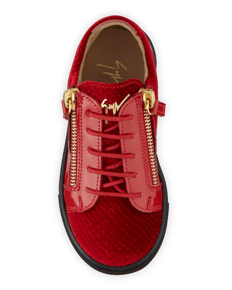 Giuseppe Zanotti London Patent Leather & Velvet Low-Top Sneakers, Toddler/Kids