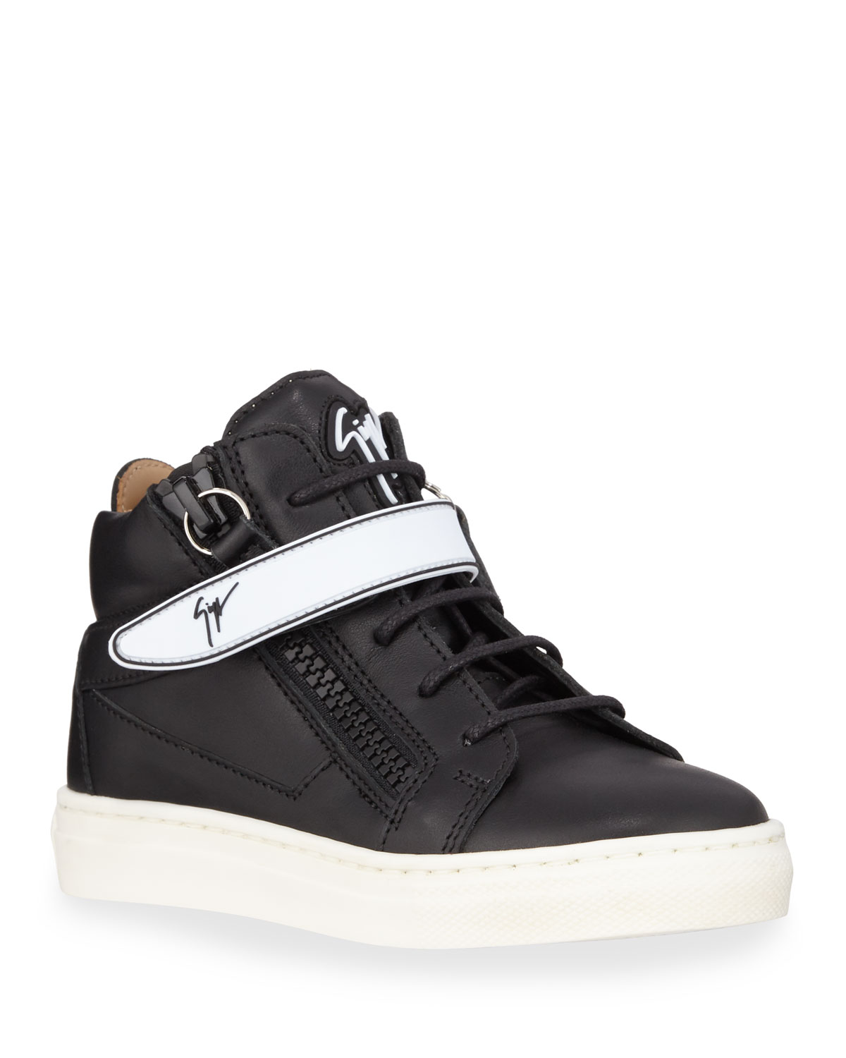 6bf48ad4ca64f Giuseppe Zanotti London Leather Grip-Strap High-Top Sneakers, Baby/Toddler/