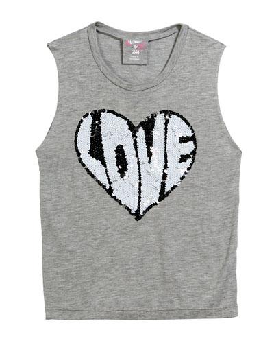 Sequin Love Heart Tank Top  Size S-XL