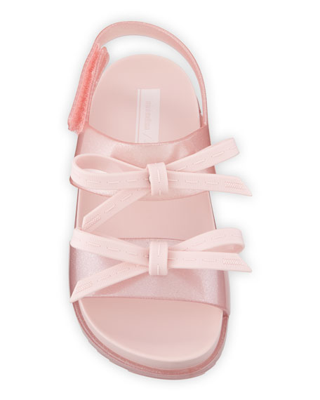 Mini Melissa Cosmic Glittered Bow Sandal, Baby/Toddler/Kids