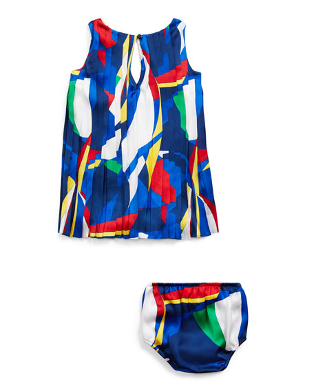 Ralph Lauren Childrenswear Multicolored Pleated Dress w/ Matching Bloomers, Size 6-24 Months
