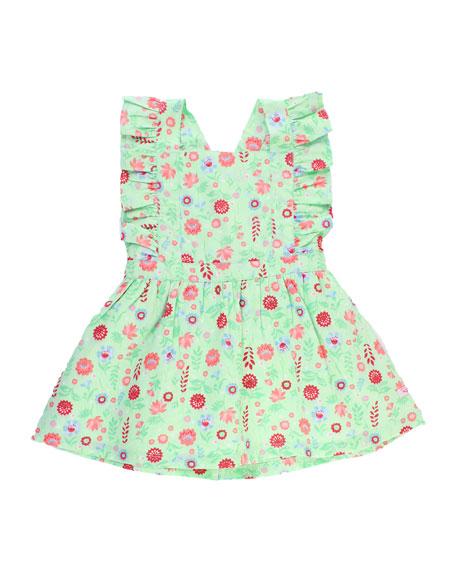 RuffleButts Darling Dahlias Pinafore Dress w/ Matching Bow Headband, Size 0M-3T