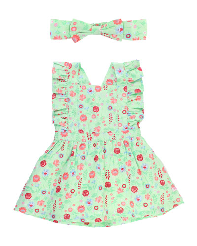 Darling Dahlias Pinafore Dress w/ Matching Bow Headband  Size 0M-3T
