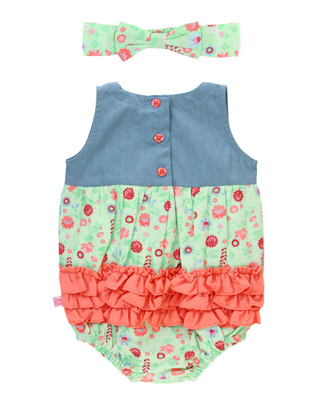 RuffleButts Darling Dahlias Printed & Denim Romper w/ Matching Bow Headband, Size 0-24 Months