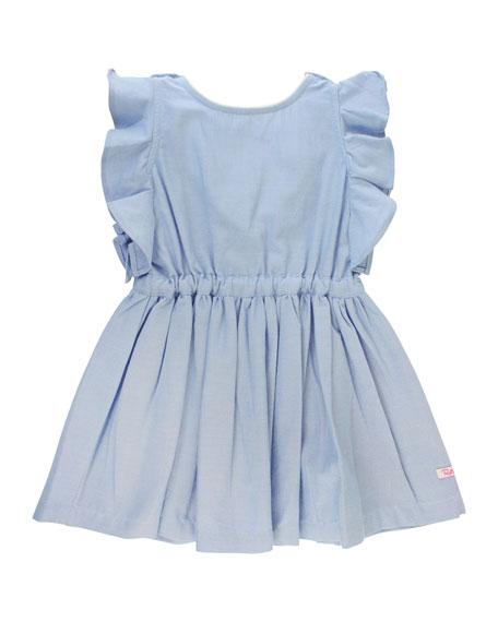 RuffleButts Ruffle-Trim Chambray Dress w/ Solid Bow Headband, Size 12M-3T
