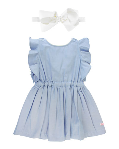 Ruffle-Trim Chambray Dress w/ Solid Bow Headband  Size 12M-3T