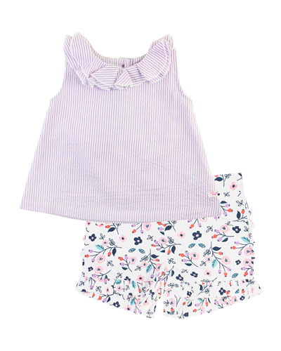 Stripe Seersucker Ruffle Collar Tank Top w/ Berry Sweet Printed Shorts  Size 12M-3T