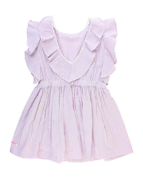 RuffleButts Seersucker V-Back Dress w/ Matching Bow Headband, Size 12M-3T
