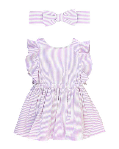 Seersucker V-Back Dress w/ Matching Bow Headband  Size 12M-3T
