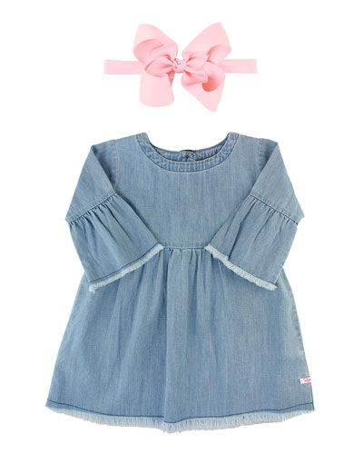 Frayed Chambray Babydoll Dress w/ Grosgrain Bow Headband  Size 3M-3T