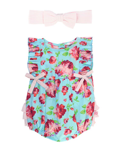 Life Is Rosy Printed Romper w/ Matching Bow Headband  Size 0-24 Months