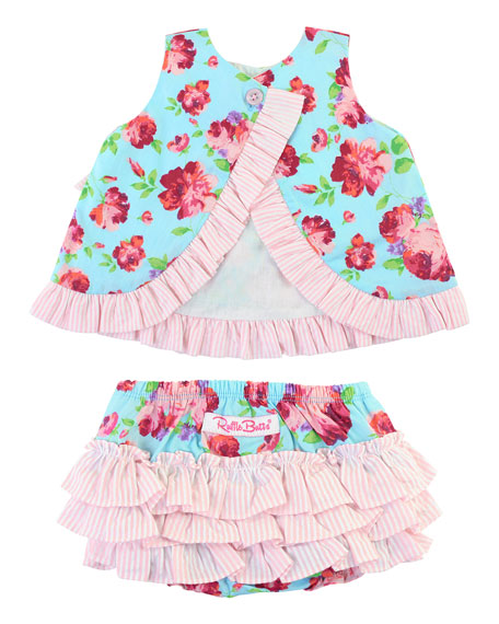 RuffleButts Life Is Rosy Swing Top w/ Matching Bloomers, Size 0M-2T