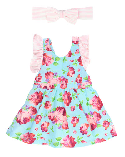 Life Is Rosy Pinafore Dress w/ Seersucker Bow Headband  Size 0M-3T
