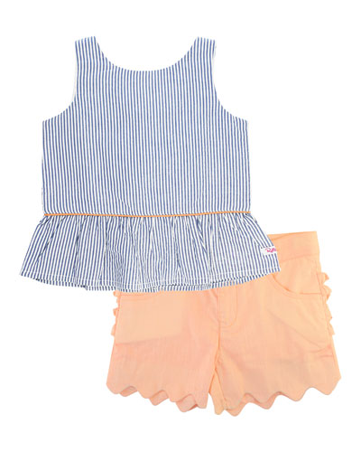 Seersucker Peplum Top w/ Scallop Shorts  Size 12M-3T