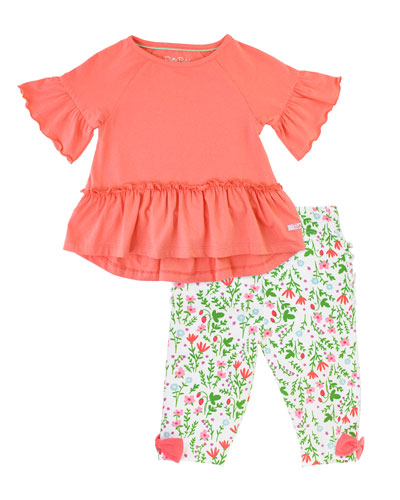 Ruffle Peplum Top w/ Strawberry Field Print Leggings  Size 3M-3T