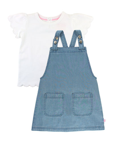 Denim Jumper Dress w/ Scallop Tee  Size 3M-3T