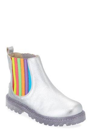 Sophia Webster Lara Rainbow Metallic Leather Boots, Baby/Toddler/Kids
