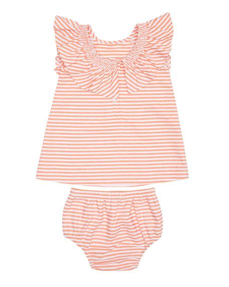 Habitual Aelicia Stripe Ruffle Dress w/ Matching Bloomers, Size 12-24 Months