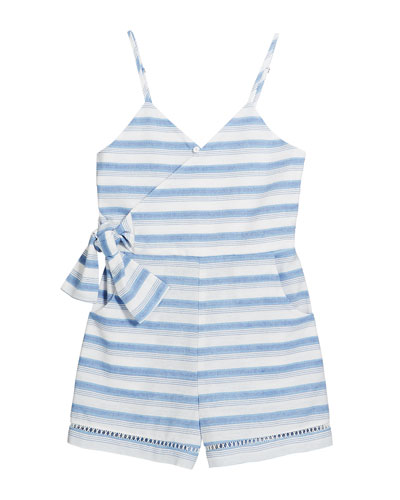 Perla Stripe Wrap Sleeveless Romper  Size 4-6X