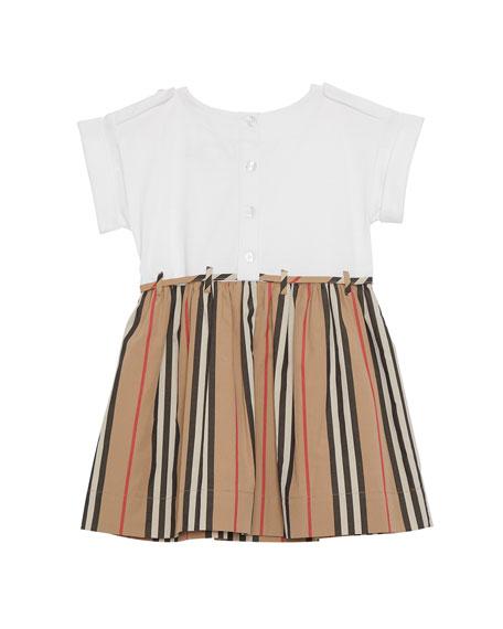 Burberry Rhonda Jersey & Icon Stripe Poplin Dress, Size 6M-2