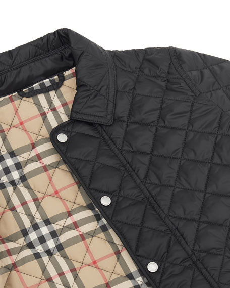 Burberry Brennan Quilted Snap Jacket, Size 3-14