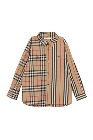Burberry Amir Icon Stripe & Check Button-Down Shirt, Size 3-14