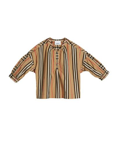 Lola Icon Stripe Check-Trim Blouse  Size 3-14