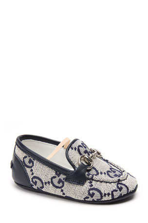 Gucci Jordaan GG Supreme Canvas Loafers, Baby