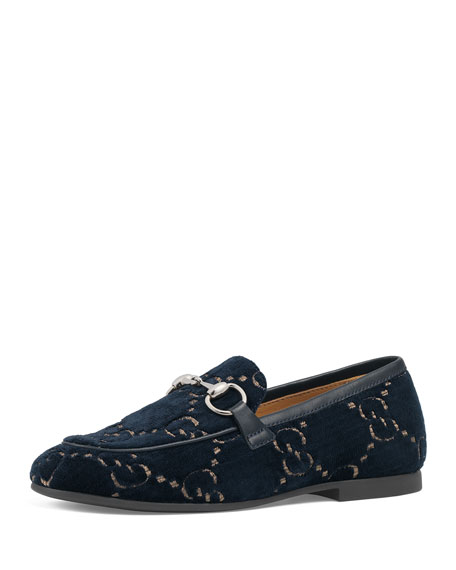 Gucci Jordaan GG Velvet Loafers, Toddler/Kids