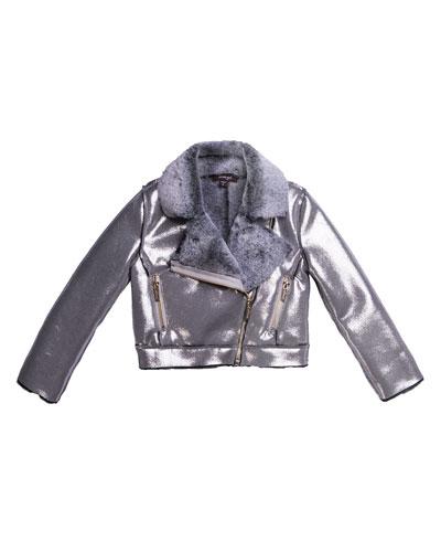 Metallic Faux Suede Jacket w/ Faux Fur Lining  Size 7-14