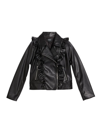 Girl's Chloe Ruffle Faux-Leather Jacket  Size 8-16