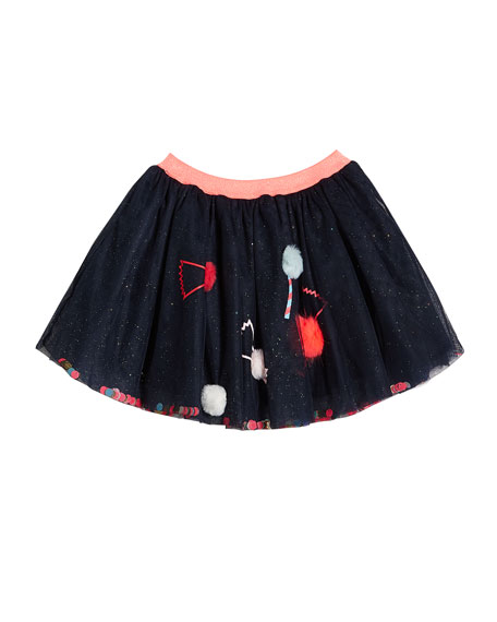 Image 1 of 3: Billieblush Girl's Glitter Tulle Skirt w/ Candy Pompom Detail, Size 4-12