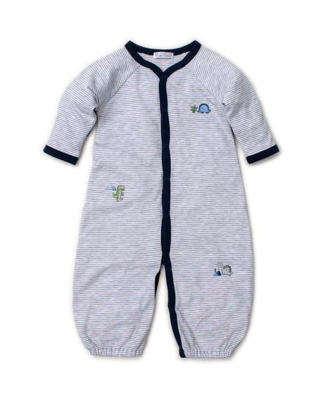 Kissy Kissy Dino Crew Striped Embroidered Convertible Sleep Gown, Size Newborn-Small