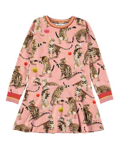 Conny Bengal Cat Print Long-Sleeve Dress  Size 2T-10