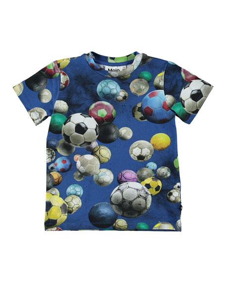 Molo Ralphie Soccer Balls Print Short-Sleeve Tee, Size 4-10