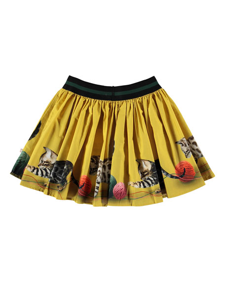 Molo Brenda Kittens Playing Print Skirt, Size 2T-12
