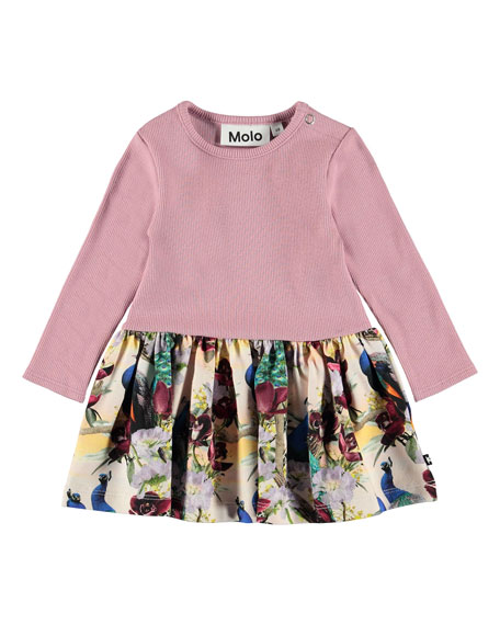 Molo Carel Ribbed Long-Sleeve Dress w/ Printed Skirt, Size 6-24 Months