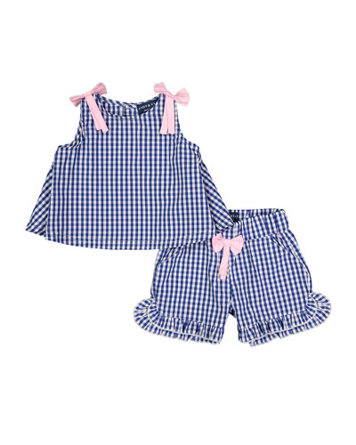 Gingham Sleeveless Top w/ Ruffle Shorts  Size 3-36 Months