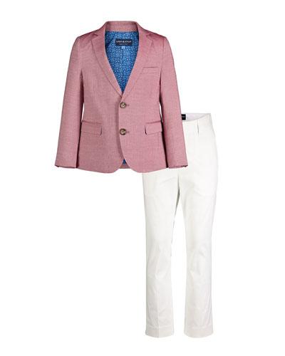 Faded Oxford Blazer w/ Straight-Leg Pants  Size 2-6X