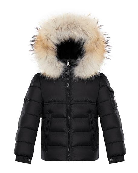 Moncler Boy's New Byron Hooded Jacket w/ Fox Fur Trim, Size 4-6