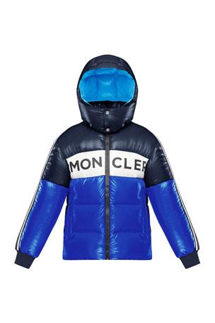 Moncler Febrege Tricolor Logo Hooded Puffer Jacket, Size 4-6