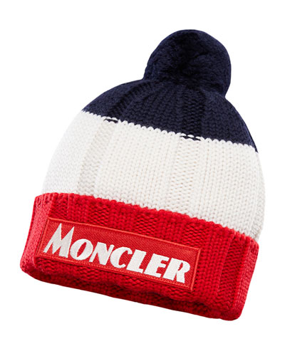 Kid's Tricolor Knit Pompom Hat