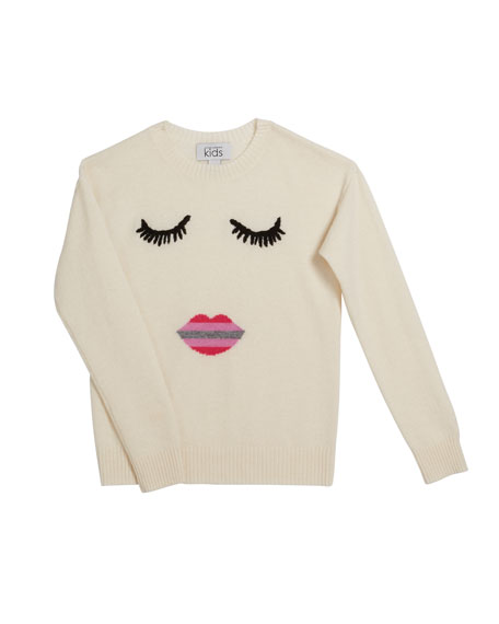 Autumn Cashmere Face with Ombre Lips Crewneck Sweater, Size 8-16