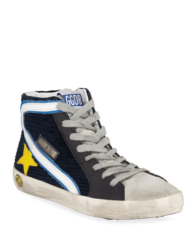 Boy's Slide High-Top Corduroy Sneakers  Toddler/Kids