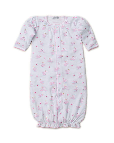 Kissy Kissy Sparkling Swans Printed Convertible Gown, Size Newborn-Small